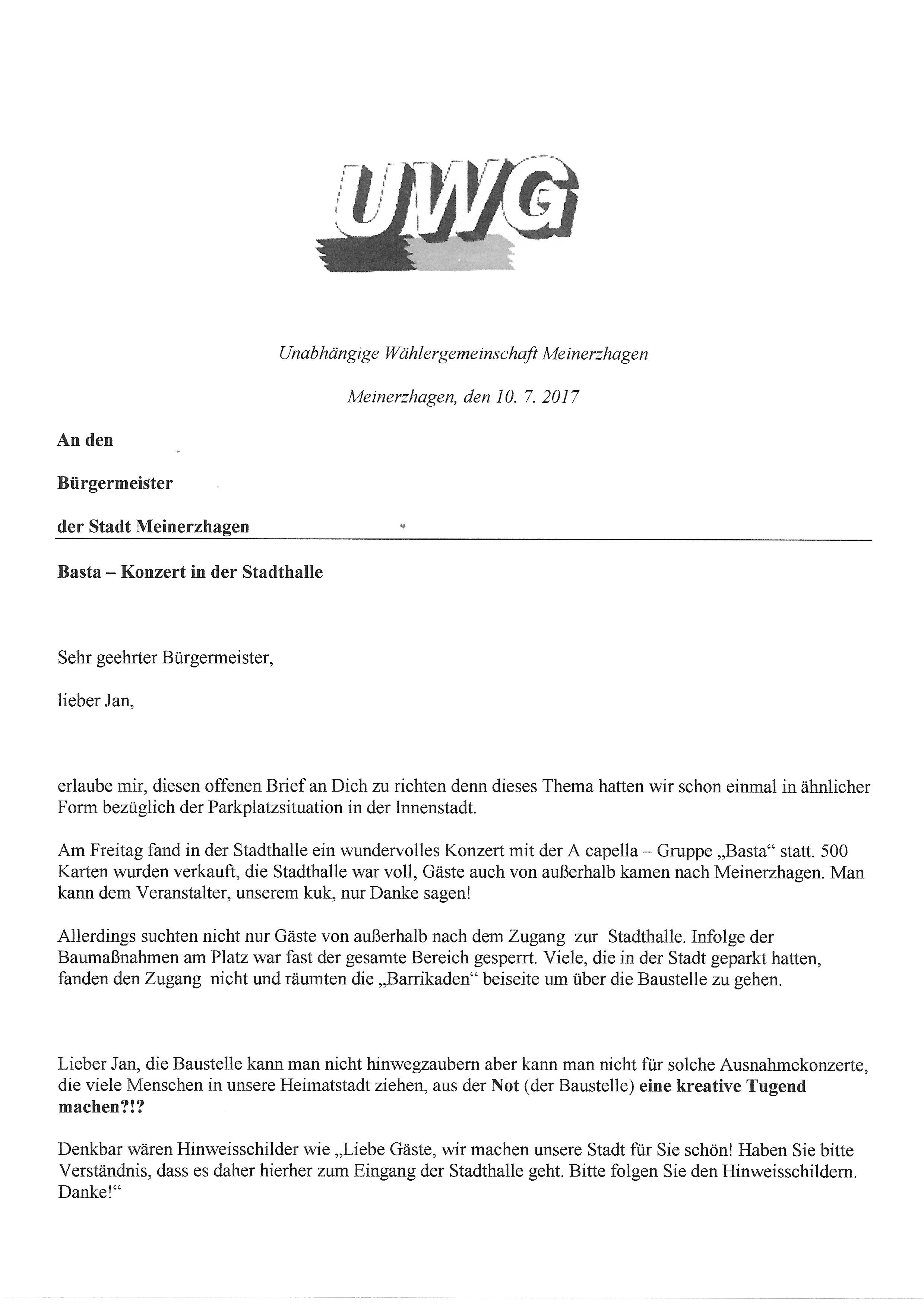Offener Brief an Bürgermeister Jan Nesselrath | UWG Meinerzhagen